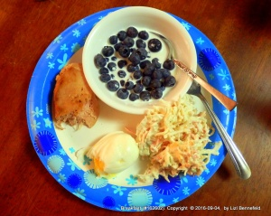 snow crab salad, fresh hard-boiled egg, tuna steak (leftovers), blueberries in half&half,