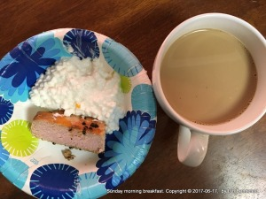 on paper plate, 2 oz cold tuna steak, 1/2 cup cottage cheese (4% fat content)