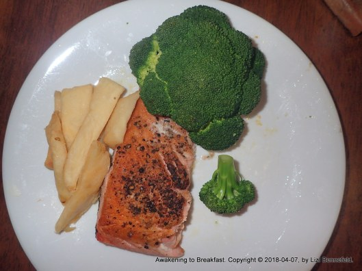 breakfast: steak fries, broccoli and pan-cooked salmon